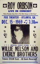 """Roy Orbison Concert Poster - 1969 w/ Willie Nelson & the Everly Brothers 14""""x22"""""""
