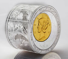 Niue 2014, Fortuna Redux Mercury 3D, $25, 3 Oz SILVER proof cylinder shaped coin