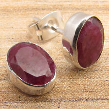 Gifts For Fiance !! 925 Silver Plated Red Simulated RUBY ARTISAN STUD Earrings