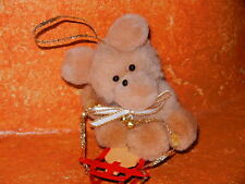 "Vintage Christmas Tree Ornament Pom Pom Balls Tan Teddy Bear Plush 3"" Sled"