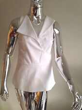 Derek Lam White Sleeveless Peplum Vneck Cotton Top Blouse w Lapel Wrap-over Sz 0