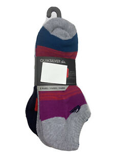 Quiksilver Mens Low Cut Socks 5 Pairs Gray Navy Striped Poly Cotton NEW