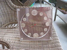 Our Silver Heritage Coin Clock 2 Kennedy Halfs, 2 Wash. Quarters 8 Eisenh. Dimes