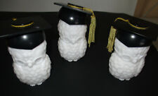Lot 3 Vintage Avon Owl Bottles Graduation Graduate Milk Glass Sweet Honesty