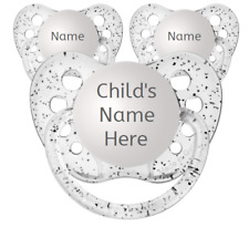 3 Glitter Clear Personalized Pacifiers - Ulubulu - Name Soothers- 3 Baby Binkies