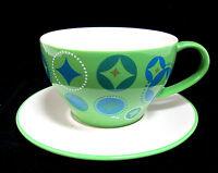 "Starbucks 4.5"" diam Coffee Mug Cup and 6.5"" diam Saucer 2006 Green White 12oz"