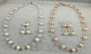 Vintage White Pink Oval Freshwater Pearl & Crystal Necklace & Earrings