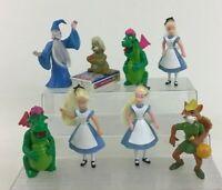 Disney Toy Figure Lot 8pc Alice in Wonderland Petes Dragon McDonalds Vintage 90s