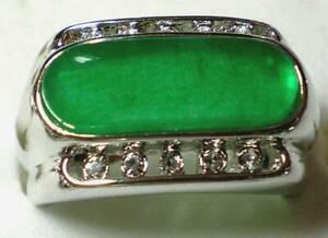 Green Jade 18K White Gold Plated Men's Ring Size 11