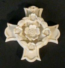 "Margaret Furlong 1998 ""Blooms Of Hope"" 3"" Bisque Cross & Floral Ornament"