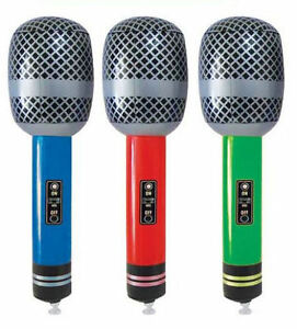 Inflatable Microphone 25cm - Choose From 3 Colours - Blow Up Rock & Roll Party