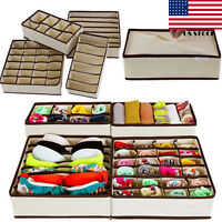 1/4pcs Drawer Closet Organizer Storage Box Container for Underwear Bra Socks