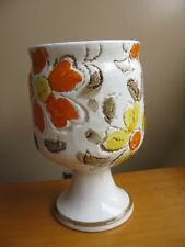 Vintage Embossed Flower Power Smiley Face Pottery Planter C8767 NAPCO