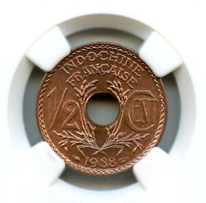 Indochine Française 1/2 Cent 1938 NGC MS 68 RB Top population!