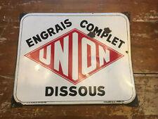 Tres belle plaque émaillée Engrais Union 1952