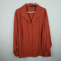 Laura Scott Womens Top Plus Size 26W Orange Button Down Long Sleeve V Neck Tunic