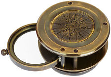 Brass Compass Magnifier Vintage Replica Compass & Magnifying Glass Two in one
