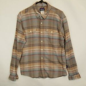Patagonia Mens A/C Steersman Bear Brown LS Organic Cotton Shirt Medium Hiking M