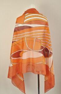 Hermes Shawl Stole Scarf THALASSA Orange Cotton 100% Woman Auth 68 x 35 in Ex++