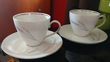 Johann Haviland Bavaria Germany Silver Wheat 2 Cups & Saucer Sets