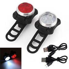 2 Wiederaufladbare LED Fahrradlampe Fahrrad Lampe Set Frontlicht Rücklicht USB