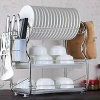 3 Tier Chrome Coated Dish Drainer Holder Sink Rack Drip Tray Plates Cutlery Cups