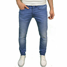 Voi Mens Designer Branded Stretch Tapered Fit Mid Blue Jeans, BNWT