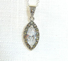 Marcasite/White Cubic Zirconia Solid 925 Sterling Silver Ladies Pendant & Chain