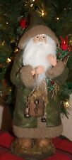 "Standing 16"" Christmas Woodland Green Santa Claus Red Birds Nwt Birdhouse"