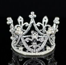Small Pearl Clear Austrian Rhinestone Tiara Crown Bridal Wedding Prom Party T34