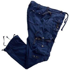 VTG Polo Ralph Lauren Military Paratrooper Blue Tactical Mens Cargo Pants 36x30