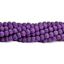 Lava Rock Stone Round Beads 8mm Purple 40+ Pcs Dyed  Gemstones Jewellery Making