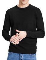 JACK & JONES Mens Crew Neck Jumper Cotton Knit Sweater Pullover Plain Black