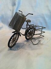 VINTAGE OLD FASHIONED RUSTIC DESK TOP DECOR GOLD TONE BICYCLE WHEELS TURN