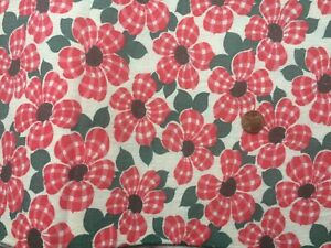 FLORAL Full Vintage FEEDSACK Quilt Sewing Doll Clothes Craft Fabric Red Green