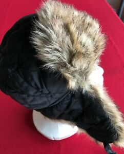 """Winter Hat, Ear Protectors, boy's, black quilted polyester, faux fur, 23"""""""