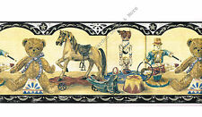 Antique Vintage Wooden Toys Teddy Bear Rocking Horse Circus Kid Wallpaper Border