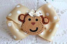 Silly Monkey Kids Hair Bow Polka Tan Brown Clip fun unique Free Shipping Usa