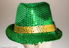 St. Patrick's Day Hat Green Sequin Fedora Hat With Lucky Button