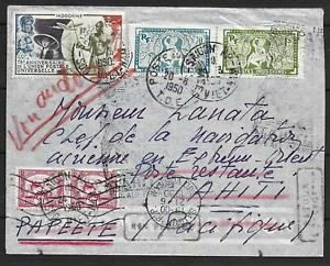 Indochine covers 1950 mixed franked Airmail cover saigon to TAHITI! destination!
