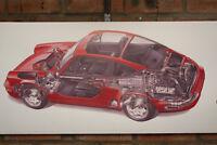 Porsche Carrera 4 Rojo PVC Grande Taller Bandera Taller Coche Muestra Bandera