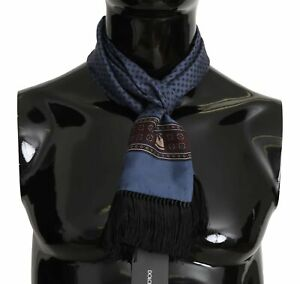 DOLCE & GABBANA Scarf Blue Baroque Tassel Mens Silk Shawl 16cmx140cm RRP $300