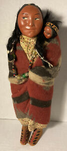 Antique Vintage SKOOKUM INDIAN Bully Good Doll Woman w Papoose Native American