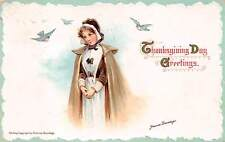 Signed Brundage, u. 1912, Thanksgiving, Young Girl and Birds, Series #132