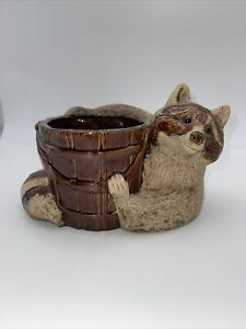 Vintage Royal Haeger Raccon Bucket Planter Brown Sand Glaze