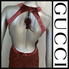 GUCCI Tom Ford Silk Sheer Velvet Halter Bodycon Wiggle Backless Dress RARE!!