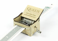 Queen - We Are The Champions / Hand Crank Paper Strip Wooden Music Box