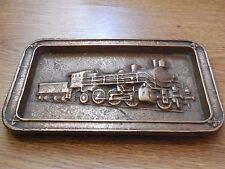Vintage Soviet Russian Bronze Souvenir Steam Locomotive Train Plaque USSR