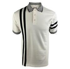 Ska & Soul Men's SS2416 Twin-Stripe Chequerboard Pique Polo Shirt Ecru