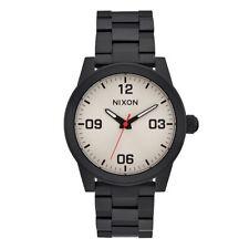 NWOT  Nixon GI SS Men's Black Steel Watch Band With White Analog Dial  nt73